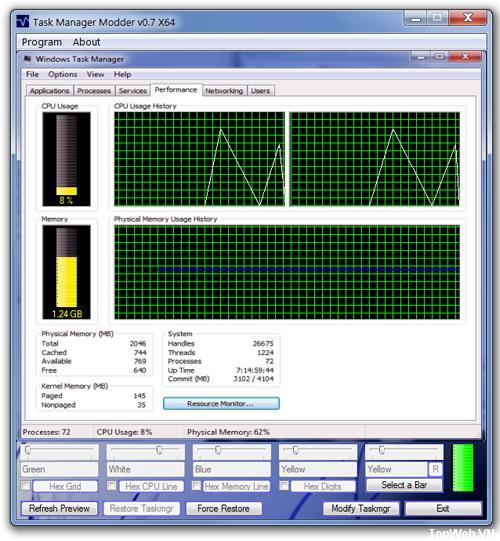 Tùy chỉnh màu sắc giao diện Task Manager trên Windows 7