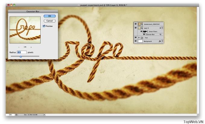 Tạo Chữ Dây Thừng với Puppet Warp Tool trong CS5