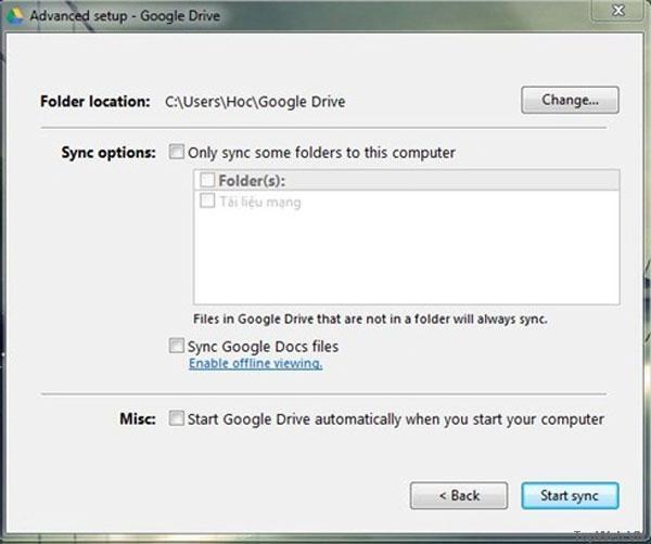 Thiết lập Google Driver thành thư mục trên Windows
